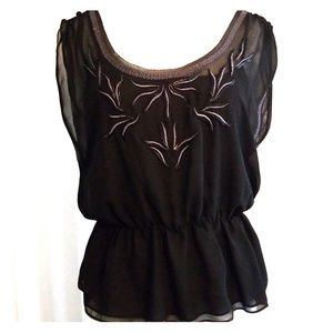 Ark & Co black sheer blouse with attached cami